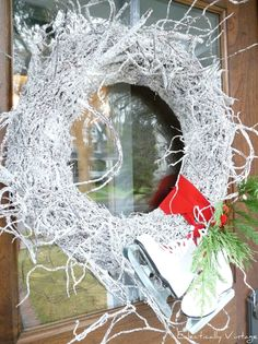 Snowy Twig Wreath,  it so happened I took lots of twigs from my brother-in-law's garden tpday