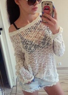 Kup mój przedmiot na #vintedpl http://www.vinted.pl/damska-odziez/swetry-z-dzianiny/12389082-bialy-sweterek-azurowy-oversiza-idealny-stan