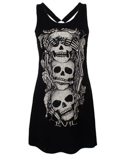 Embrace evil with this haunting dress from Jawbreaker! Stacked up on top of each other, three menacing skulls with hollow eyes and surrounded by bones will make deadly companions to the rest of your alternative wardrobe.