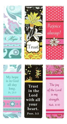 Beautiful Magnetic Bookmarks with Scripture and Words of Inspiration - Set of 6 (Floral)