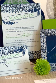 Navy blue and green wedding invitation design