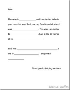 Back to school activity: write a letter to teacher