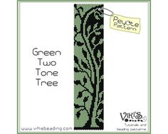 Green Two Tone Tree    Peyote bracelet pattern made with 11/0 Miyuki delica beads.    Width: 4.3cm/1.7  Length: 16.5cm/6.5  Colors: 2