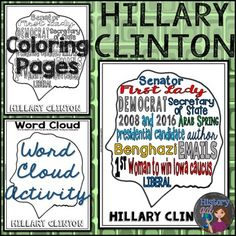 FREE Hillary Clinton Coloring Page and Word Cloud Activity perfect for the 2016 Presidential election or Women's History Month Secondary Resources, Secondary Teacher, High School Classroom, Free Activities, Help Teaching, Science Lessons, Interactive Notebooks, Women In History, Fun Learning