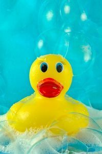how to clean bath toys - Soak the rubber toys in a deep-cleaning vinegar solution once every two weeks. Fill your tub or a large bucket with three parts hot water and one part white distilled vinegar (1/2 C vinegar to 1 gallon water)