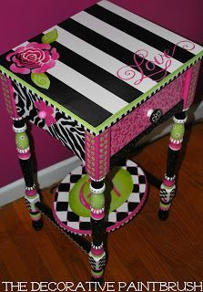 Tutorial for painting this beautiful and colorful table (Love It!)