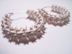 Bone Earrings - Snake Vertebrae Earrings - Bone Jewelry  Not vegan lol