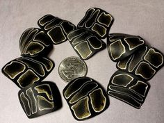 Black and Gold Squared Leaf Beads  Pack of 10 by crystalsoflove, $10.00