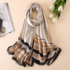 Soft Polyester Silk Scarf Shawl Fashion Print Merry Christmas Gift Candy Icon Pashima Scarfs For Women Light Scarves Turban Scarf Multiple Ways Of Wearing Daily Decor