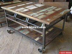Reclaimed Wood Kitchen Cart | wooden iron kitchen cart three drawer trolley industrial furniture ...