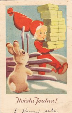 Olavi Vikainen Christmas And New Year, Vintage Christmas, Christmas Cards, New Year Card, Old Toys, Vintage Cards, Disney Characters, Fictional Characters, Nostalgia