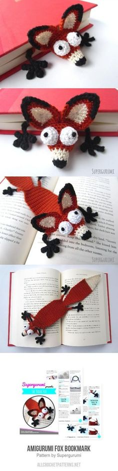 Amigurumi Fox Bookmark crochet pattern by Supergurumi - Lori Barbour - Pineagle Crochet Bookmarks, Crochet Books, Crochet Gifts, Cute Crochet, Knit Crochet, Funny Crochet, Crochet Humor, Yarn Projects, Knitting Projects
