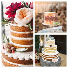 "Today we have cake on the brain! Not just any cake- but beautiful ""naked"" cakes! These cakes are especially perfect for ""shabby chic"" or ""natural"" weddings. Their low frosting taste is more palatable to most people- and who doesn't like cutting some sugar out of their diets?   See some tips/ideas and our favorite cakes on our blog!   http://aweddingonabudget.com/2015/03/table-tuesday-our-favorite-naked-wedding-cakes/"