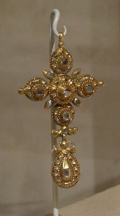 Cross; Iberian, gold and crystal, circa 18th century