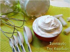 ΣΥΝΤΑΓΕΣ ΤΗΣ ΚΑΡΔΙΑΣ: Κρέμα επικάλυψης marshmallow Group Meals, Greek Recipes, Candy Recipes, Bon Appetit, Marshmallow, Icing, Good Food, Desserts, Cakes