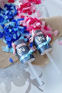 Love these sophisticated poppers that will be perfect for the big reveal. OMG love the glitter wrapper too!