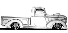 Line Drawing of old cars | 1941 Hotrod Drawing by Nathan Miller - 1941 Hotrod Fine Art Prints and ...