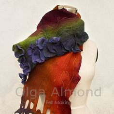 Scarf Felted Scarf Hand dyedHandmade wool and silk by OlgaAlmond, $149.00