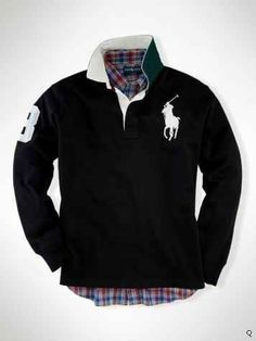 204a1cabd78bc Ralph Lauren Custom-Fit Collar Big Pony Black Ralph Luaren