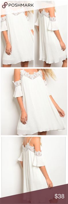 3/4 sleeve cold shoulder dress with lace trim 3/4 sleeve skater dress with lace trim along the neckline and sleeves, with cold shoulders  Fabric Content: 100% POLYESTER Size: Small 4/6, Medium 8/10, Large 12/14   New from my boutique Dresses