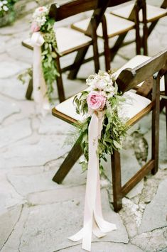 Lovely Pink Rose And Greenery Chair And Aisle Decor
