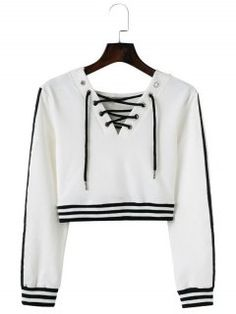 White Striped Long Sleeve Autumn Winter Femme Short Sweatshirt Lace Up V Neck Women Hoodies 2017 Streetwear Sudadera Mujer Cute Lazy Outfits, Crop Top Outfits, Classy Outfits, Cool Outfits, Cute Teen Shirts, Shirts For Teens, Outfits For Teens, Stylish Hoodies, Hoodies For Sale
