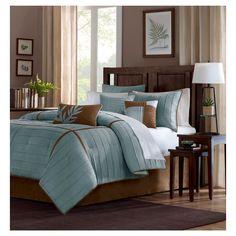 Landcaster 7 Piece Pleated Microsuede Comforter Set - Blue (California King)