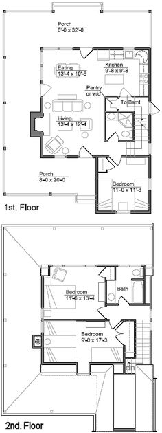 Lakeside Cabin by Andy Sheldon with downstairs bedroom.Original layout. Made changes - see other pin.