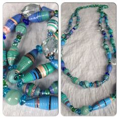 #jewelry #necklace #pieces made with #upcycled #material #paper #magazine #handmade #colors #green #blue #art #craft #beads #original #recycled #designed  by Mari M