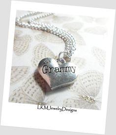 "Silver ""Grammy"" Charm Necklace w/Rhinestone, Grammy heart  Pendant ,16mm x 14mm,  gift idea for Grammy,  charm Necklace, Jewelry for Grammy"