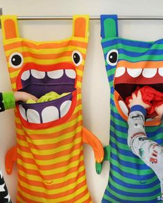 Hungry Monster Laundry Bags Ever wonder where those socks go? Well the hungry monster laundry bag eats them! Try this fun DIY craft, make a kid a laundry bag so they always keep tidy and clean. kids gifts 40 DIY Gifts for Kids They Will Treasure 40 Diy Gifts, Diy Gifts For Kids, Diy For Kids, Crafts For Kids, Diy Christmas Gifts For Kids, Easter Crafts, Sewing Hacks, Sewing Crafts, Sewing Projects