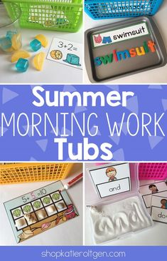 Summer Morning Work Tubs | This download includes 20 different activities for your Kindergarten students to enjoy in May, June, July, or August. You get sight words, sentence matching, beginning blends, word building, words, rhyming, making lemonade, ice cream, kites, addition, fishing, addition, making ten, measurement, sorting, graphing, pin pages, cut & punch, sensory bin, and playdough mats. Great for your kinders to love all month long! Homeschool approved too!