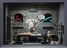 Source: Quay Brothers: The alchemist of Prague. Slightly more metallic and modern, but still tawdry and seedy, especially with the neon signs that can be seen through the windows. Gorgeously built set for a stop-motion film.