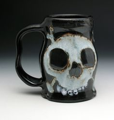 Double Skull & Crossbones Beer Tankard by NicolePangasCeramics