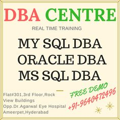 DBA CENTRE Online & Class Room Real Time Training & 100% job placements