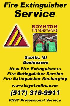 Fire Extinguisher Service Scotts (517) 316-9911.. Local Michigan Businesses you have found the complete source for Fire Protection. Fire Extnguishers, Fire Extinguisher Service.. We're got you covered..