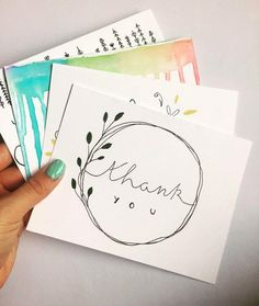 These four thank you cards measure 6 x and are complete with an envelope. The cards are blank inside so you can personalize your own message. Cards are handmade to order. If you would like any changes to the color, lettering, or would like to add a pe Cute Thank You Cards, Business Thank You Cards, Thank You Card Design, Handmade Thank You Cards, Cute Cards, Letters Ideas, Hand Drawn Cards, Karten Diy, Cards For Boyfriend