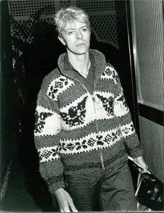 David Bowie ~ This just proves that even a fashion icon can wear an ugly sweater, lol.