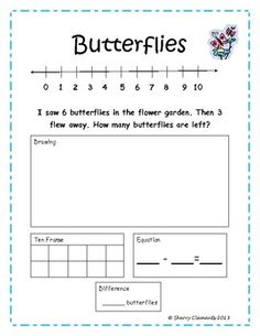 FREEBIE! Addition and Subtraction Word Problems - number line, ten ...