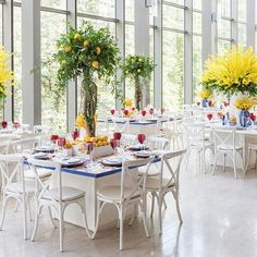 How refreshing is this use of lemon trees as #centrepieces in lieu of traditional floral?! | Photography By: 5ive15ifteen Photo Company | WedLuxe Magazine | #WedLuxe #wedding #luxury #luxurywedding #weddinginspiration