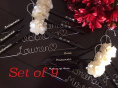 Set of 9 Personalized Hanger,  Custom Bridal Hangers,Bridesmaids gift, Wedding hangers with names,Custom made hangers