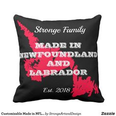Customizable Made in NFL Throw Pillow Newfoundland And Labrador, Decorative Throw Pillows, Maps, Nfl, Cushions, How To Make, Design, Throw Pillows, Accent Pillows