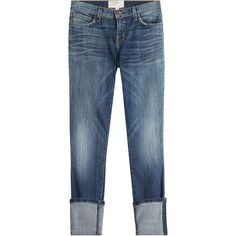 Current/Elliott Cropped Jeans ($290) ❤ liked on Polyvore featuring jeans, blue, distressed jeans, denim jeans, destroyed jeans, slim fit denim jeans and button-fly jeans