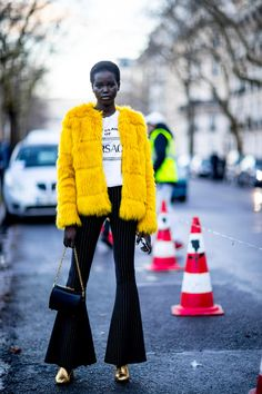 On the street at Paris Fashion Week Fall 2018.