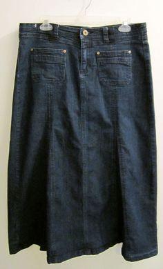 Long Denim Blue Jean Skirt Womens Size 12 Modest Modesty Conservative Western #Halffolio #ALineFullSkirtPaneled