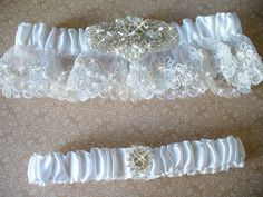Floral Embroidered Organza Wedding Garter Set by bridalambrosia