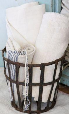 Vintage linen and a metal wine bottle cage xo--FleaingFrance