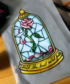 Beauty and the beast stained glass tattoo disney tattoos beauty and Rose Tattoos, Leg Tattoos, Tatoos, Tattoo Arm, Diy Tattoo, Tattoo Ideas, Tattoo Designs, Beauty And The Beast Drawing, Beauty And The Beast Rose Tattoo