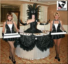 Strolling Table and cigarette girls by San Diego Spotlight Entertainment Vegas Theme, Vegas Party, Speakeasy Party, Cigarette Girl, Cigar Girl, Dress Up Costumes, 50th Wedding Anniversary, Pin Up Style, Celebrity Weddings