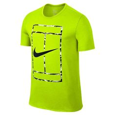 afa1addb7dd1 Exciting Volt Green Nike Men s Court Logo Short Sleeve Crew Tee introduces  sport inspired comfort